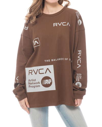 【OUTLET】RVCA レディース ALL OVER RVCA LT ロングスリーブTシャツ DBR